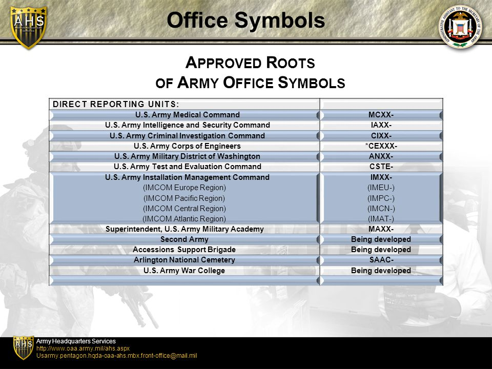 Office Symbols Approved Roots Of Army Office Symbols Ppt Video