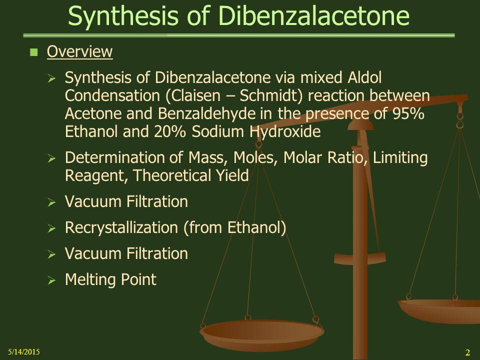 Synthesis of Dibenzalacetone