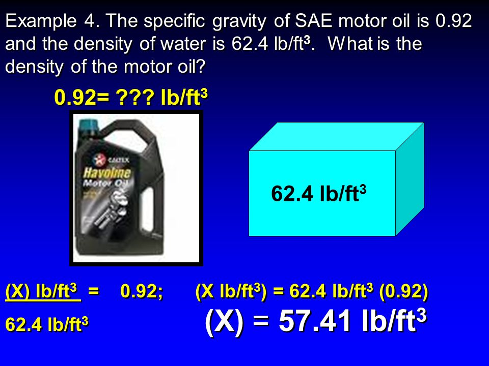 The specific gravity of SAE motor oil is 0