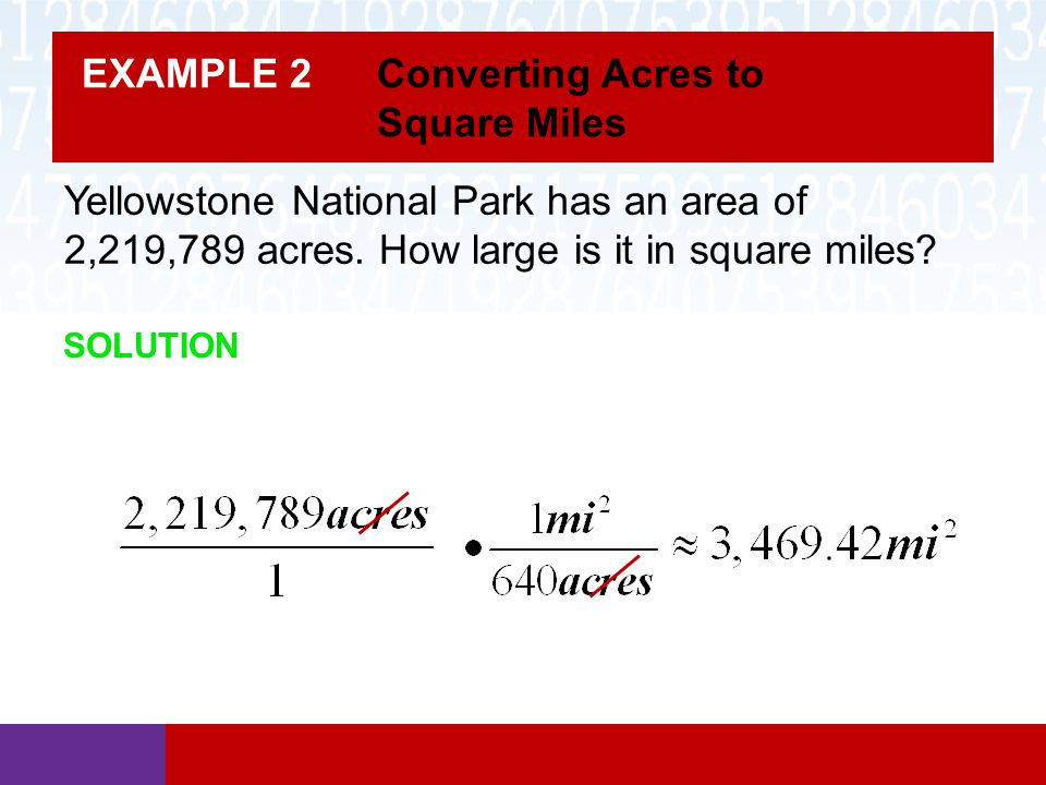 Example 2 Converting Acres To Square Miles