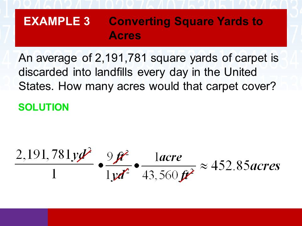 Example 3 Converting Square Yards To Acres
