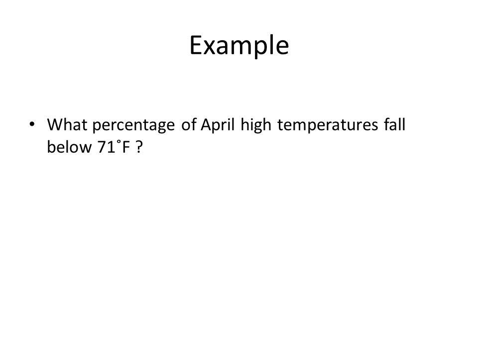 Example What percentage of April high temperatures fall below 71˚F