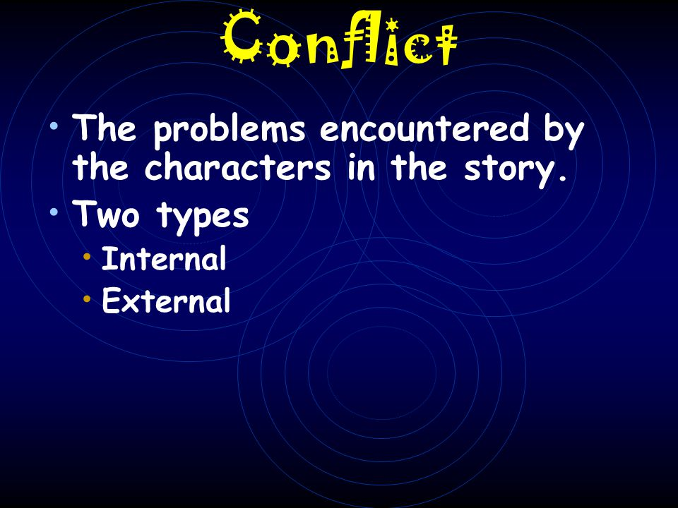 Conflict The problems encountered by the characters in the story.