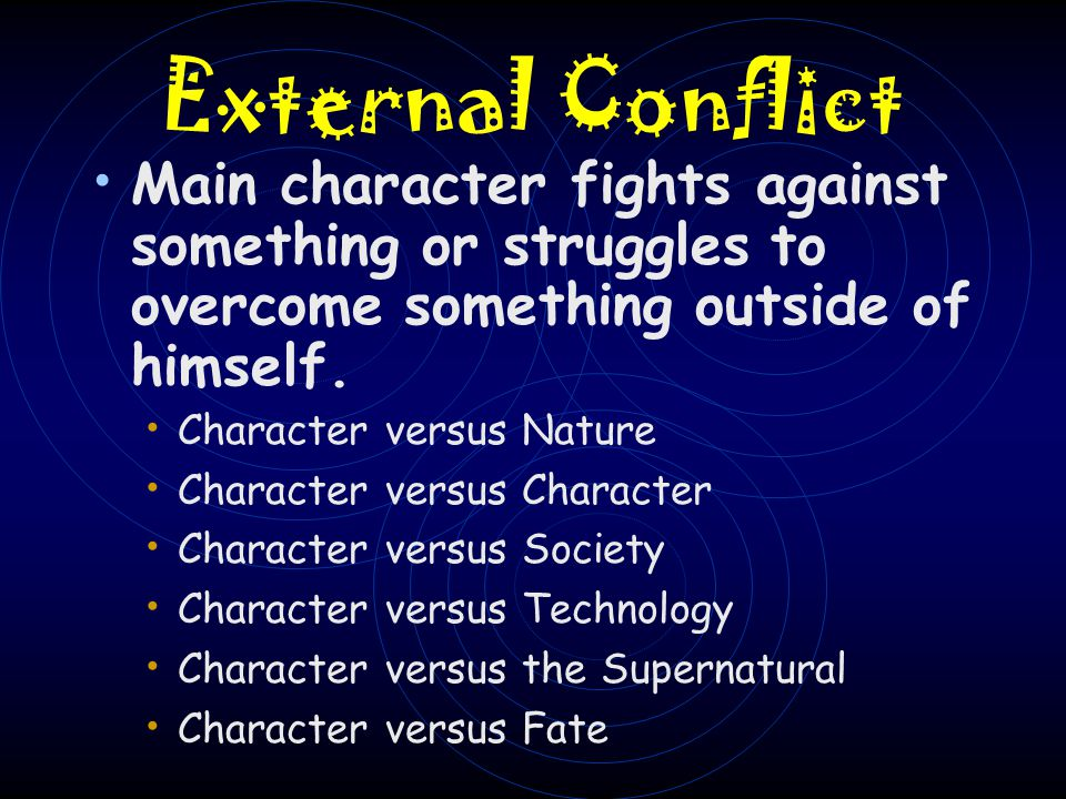 External Conflict Main character fights against something or struggles to overcome something outside of himself.