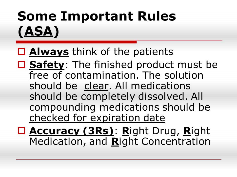 Some Important Rules (ASA)