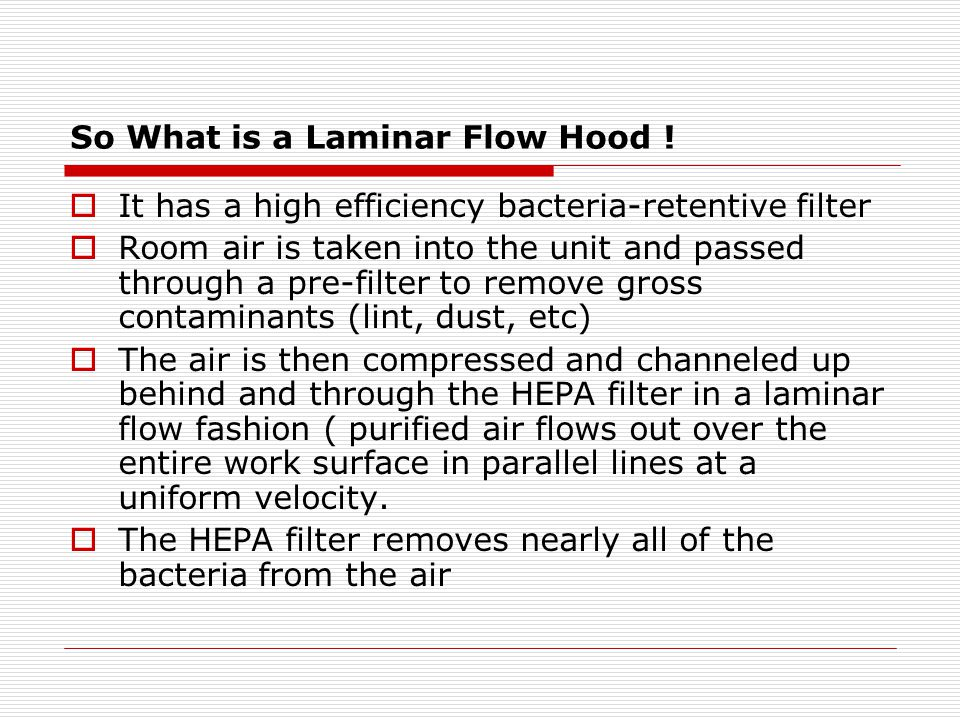 So What is a Laminar Flow Hood !