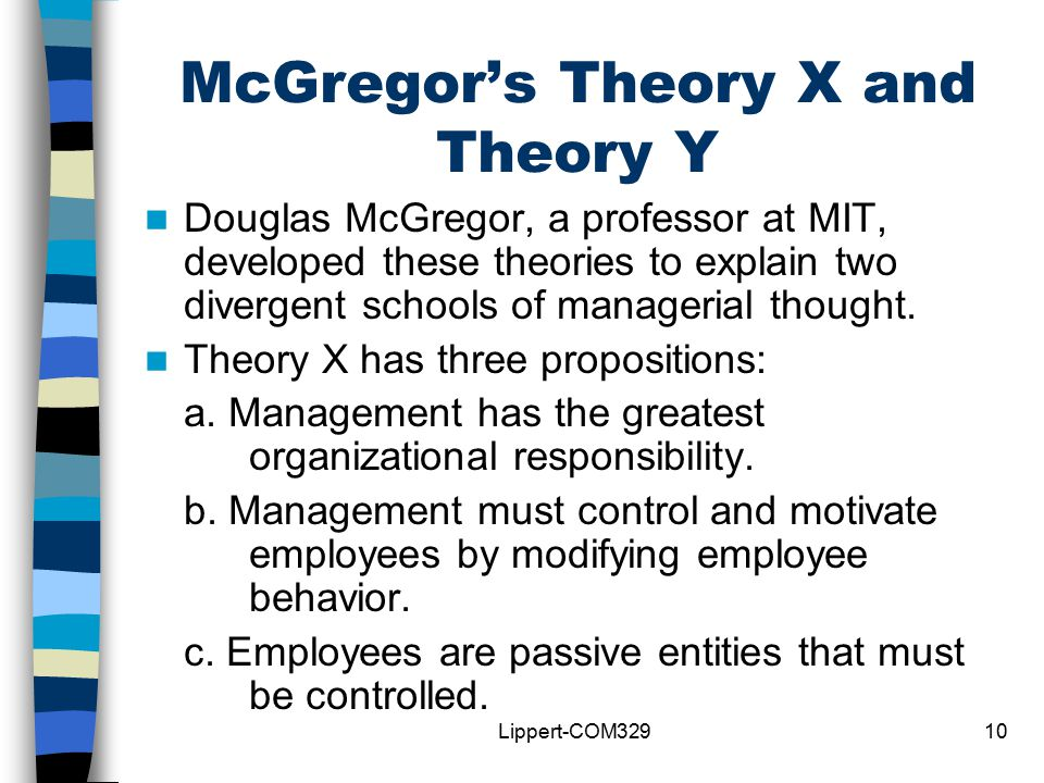 an analysis of douglass mcgregors theory x and theory y In contrast to theory y xx number 2 summer 2008: 255-271 douglas mcgregor's theory x and y: toward a construct-valid measure richard e changed the path of management thinking and practice managers should assist them in reaching their full potential.