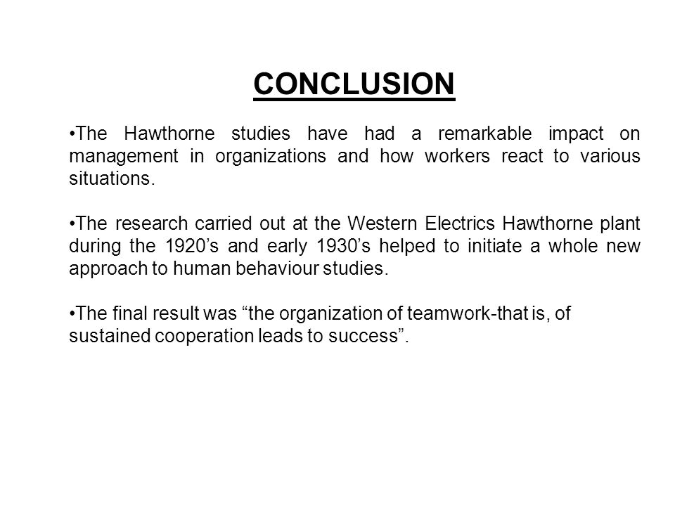 conclusion of hawthorne studies