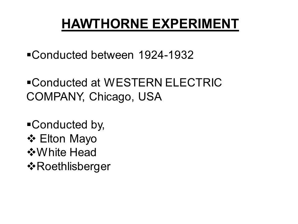 purpose of hawthorne studies