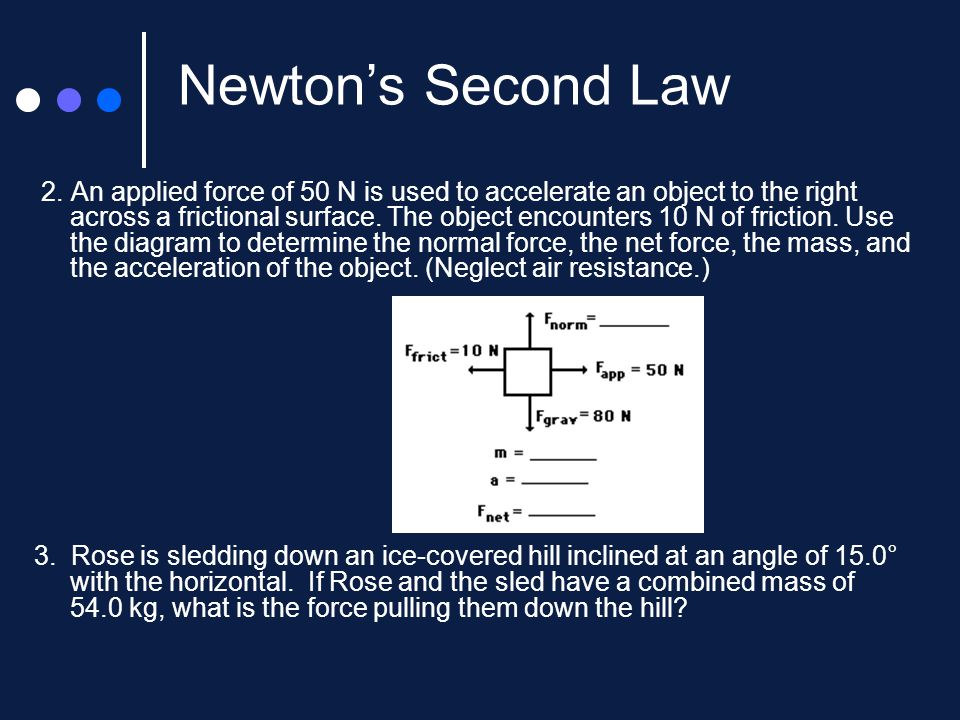 Newton's Second Law Of Motionforce And Acceleration Ppt Video. 7 Newton's Second Law 2. Worksheet. Unit V Worksheet 2 Kinematics Newton S 2nd Law At Mspartners.co