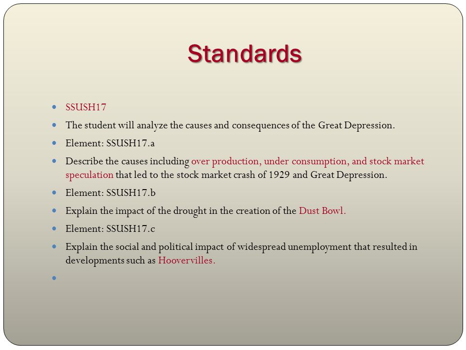analyze the causes of the great depression