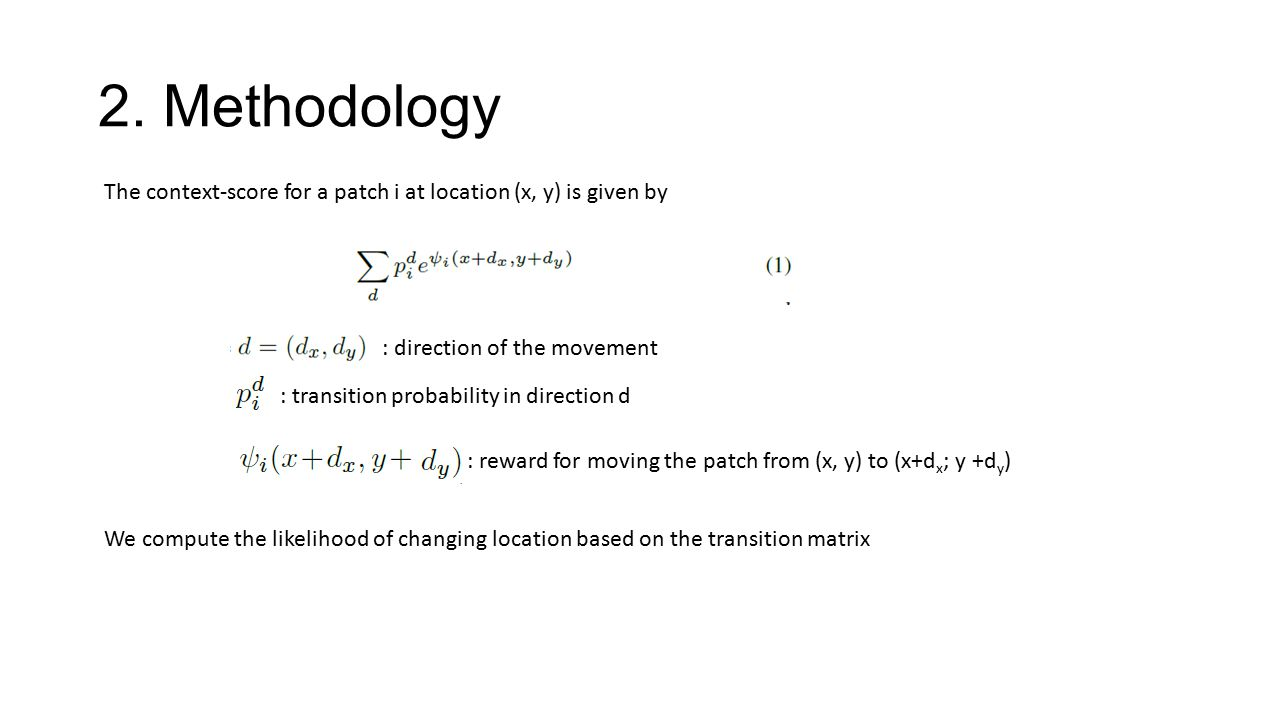 2. Methodology The context-score for a patch i at location (x, y) is given by. : direction of the movement.
