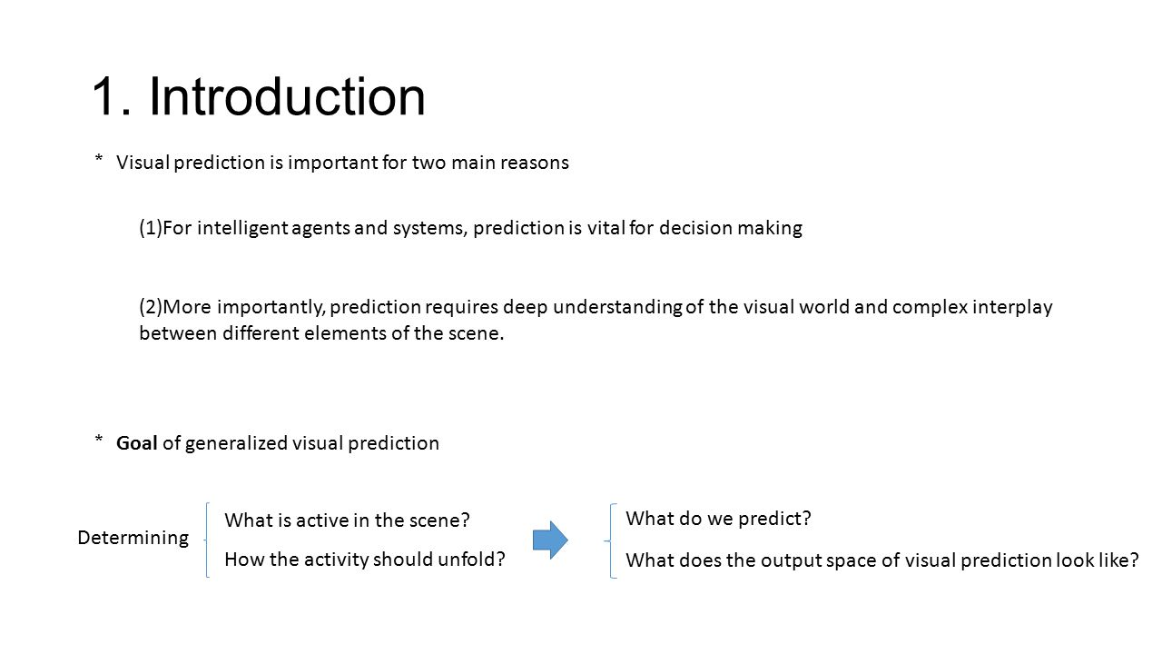 1. Introduction * Visual prediction is important for two main reasons