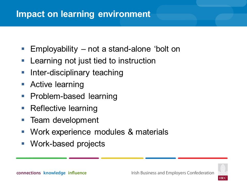 Impact on learning environment