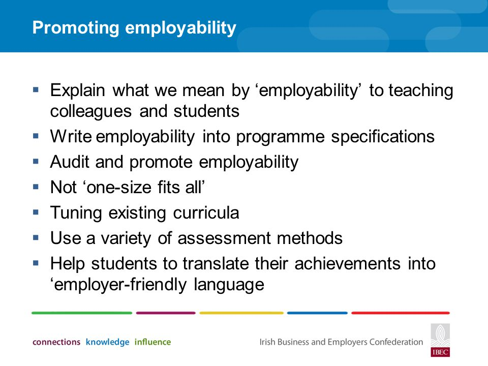 Promoting employability
