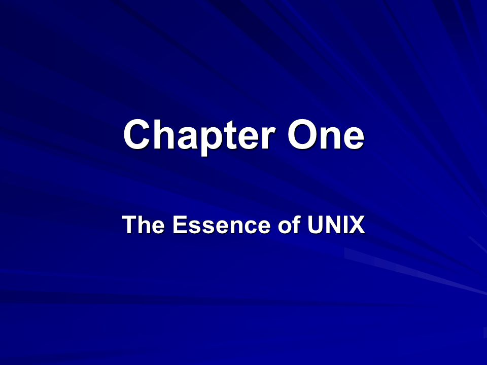 Chapter One The Essence of UNIX