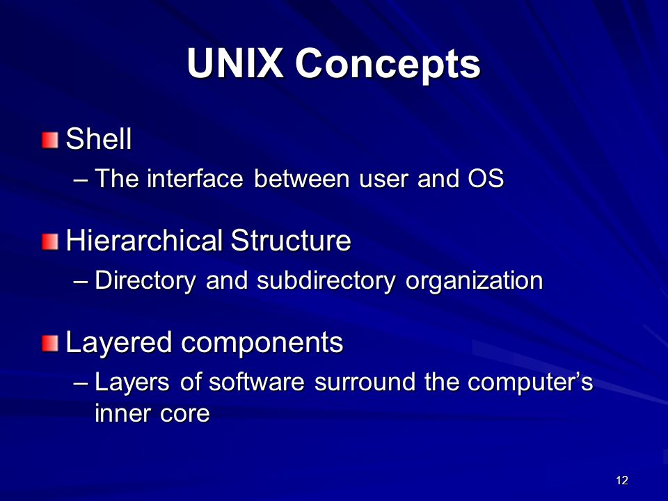 UNIX Concepts Shell Hierarchical Structure Layered components