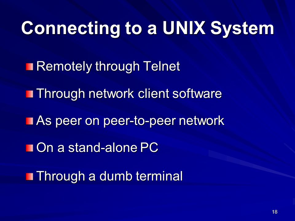 Connecting to a UNIX System
