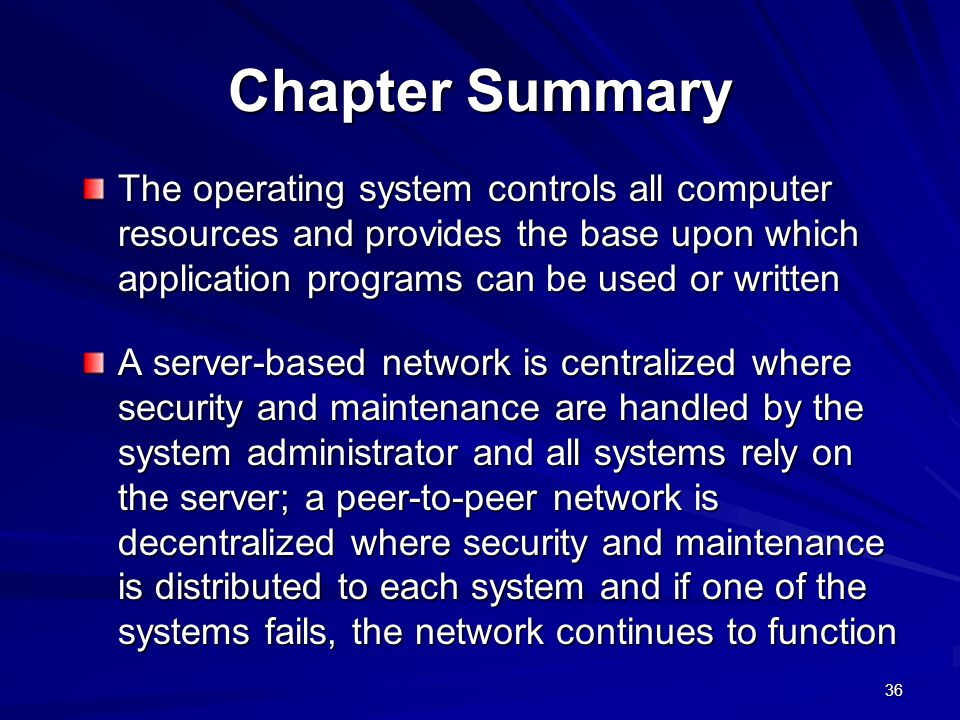 Chapter Summary The operating system controls all computer resources and provides the base upon which application programs can be used or written.