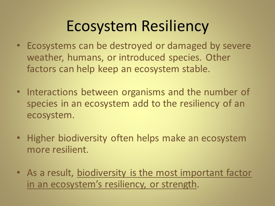 Ecosystem Resiliency