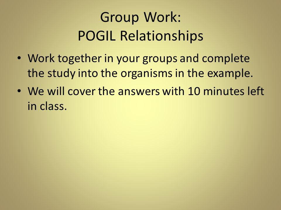 Group Work: POGIL Relationships