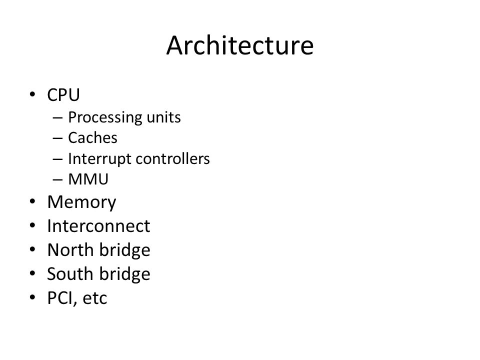 Architecture CPU Memory Interconnect North bridge South bridge
