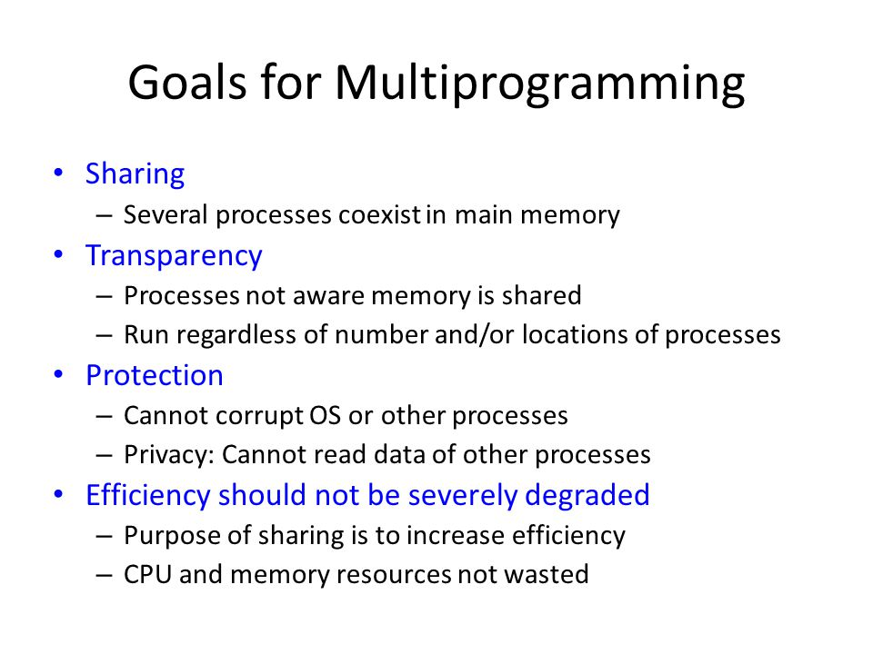 Goals for Multiprogramming