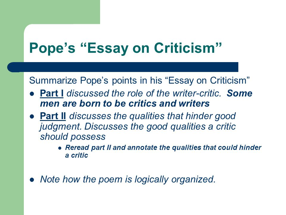 pope essay on criticism with line numbers