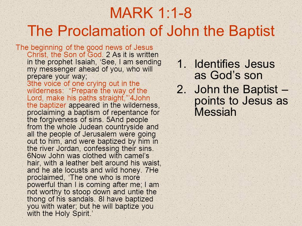 Mark 1 1 >> The Gospel According To Mark Part One Chapters Ppt Download