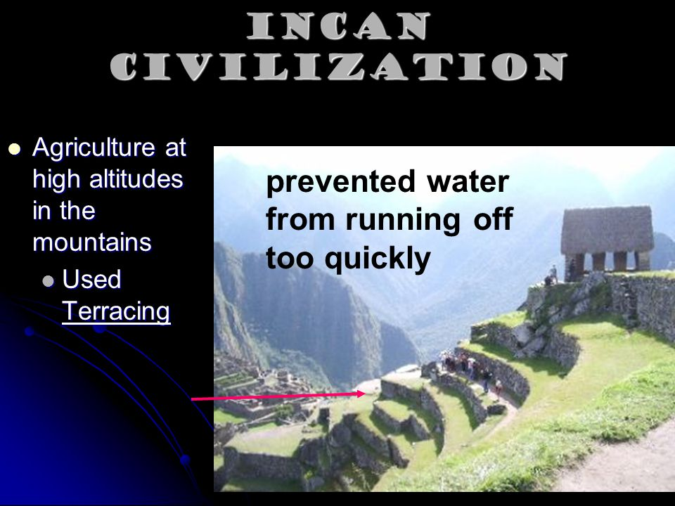 Incan Civilization prevented water from running off too quickly