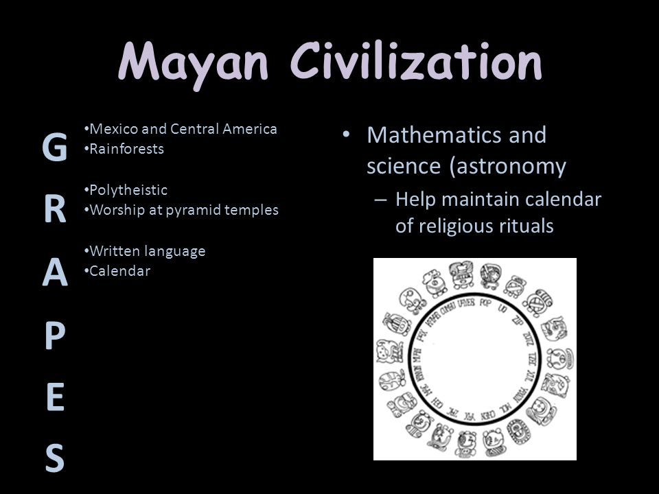 Mayan Civilization G R A P E S Mathematics and science (astronomy