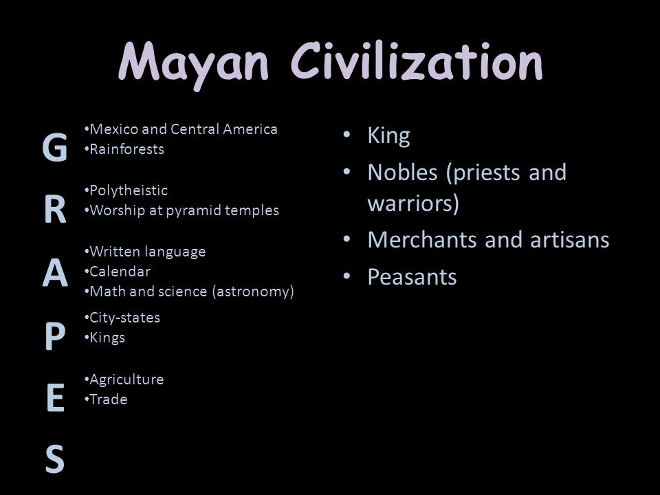 Mayan Civilization G R A P E S King Nobles (priests and warriors)