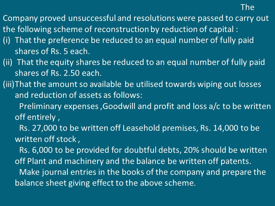 The Company proved unsuccessful and resolutions were passed to carry out the following scheme of reconstruction by reduction of capital :