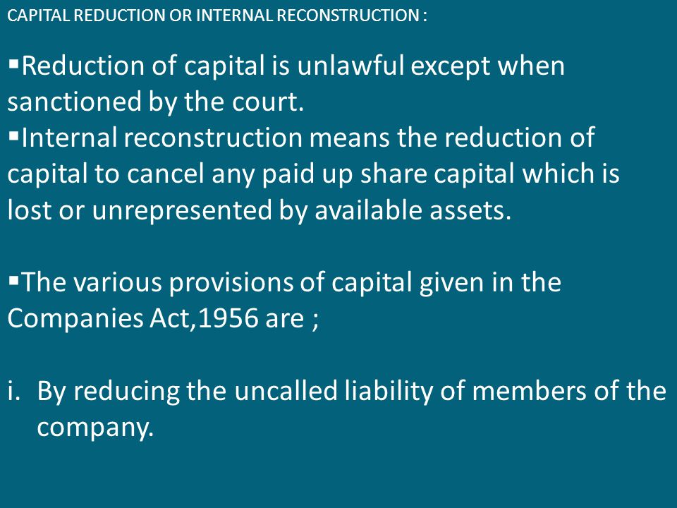 Reduction of capital is unlawful except when sanctioned by the court.
