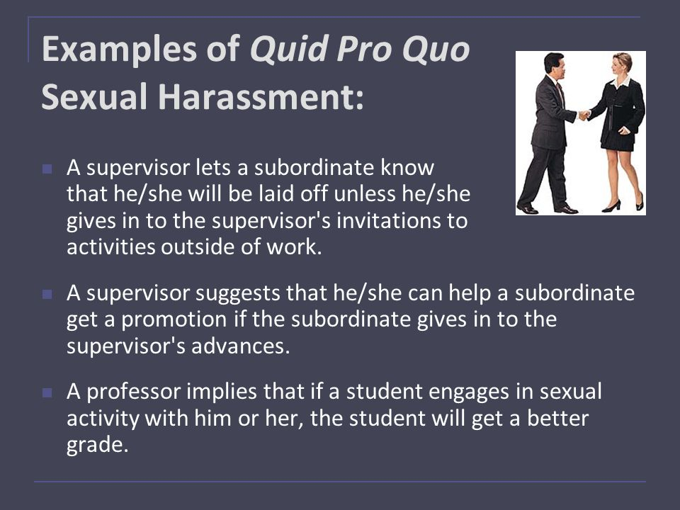 Types of sexual harassment in the workplace quid pro quo definition