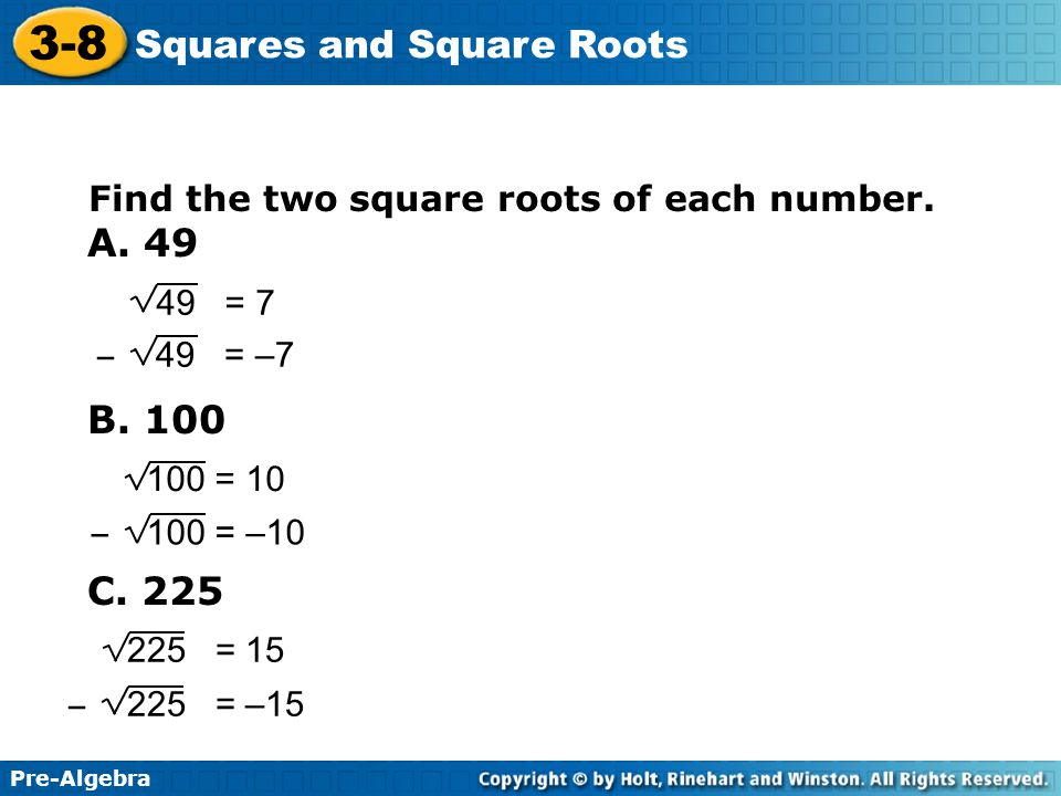 Pre Algebra 3 8 Squares And Square Roots Warm Up Simplify Ppt Download Learn how to find square root of a number.know the square root tricks and square root shortcuts for four and five digit numbers in this article. square roots warm up simplify ppt