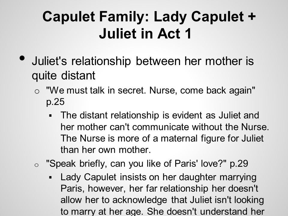 Capulet Family: Lady Capulet + Juliet in Act 1