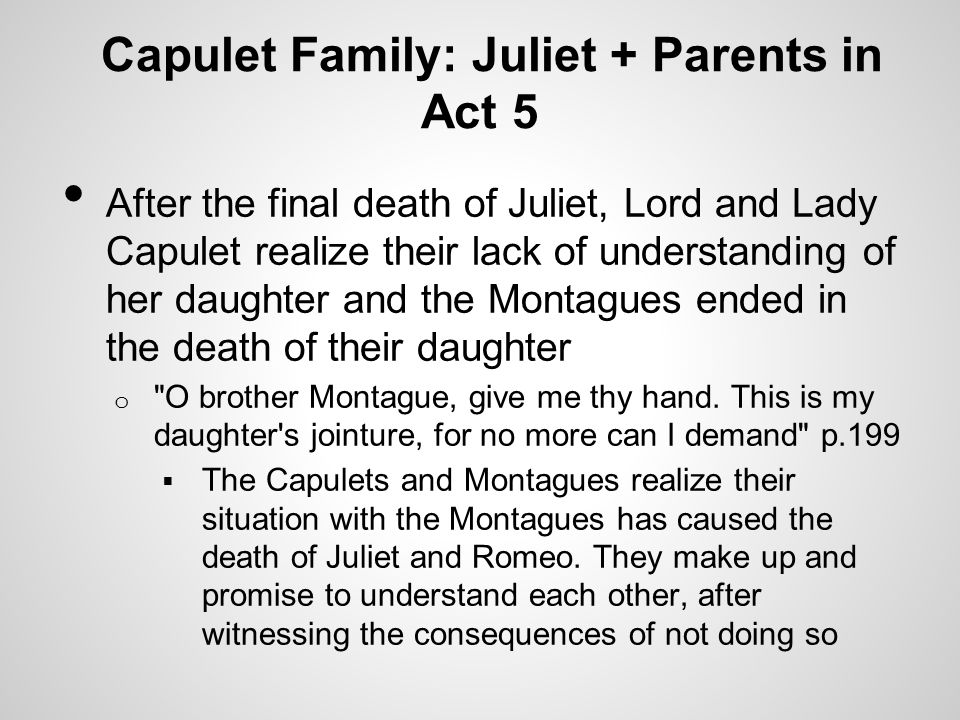 Capulet Family: Juliet + Parents in Act 5