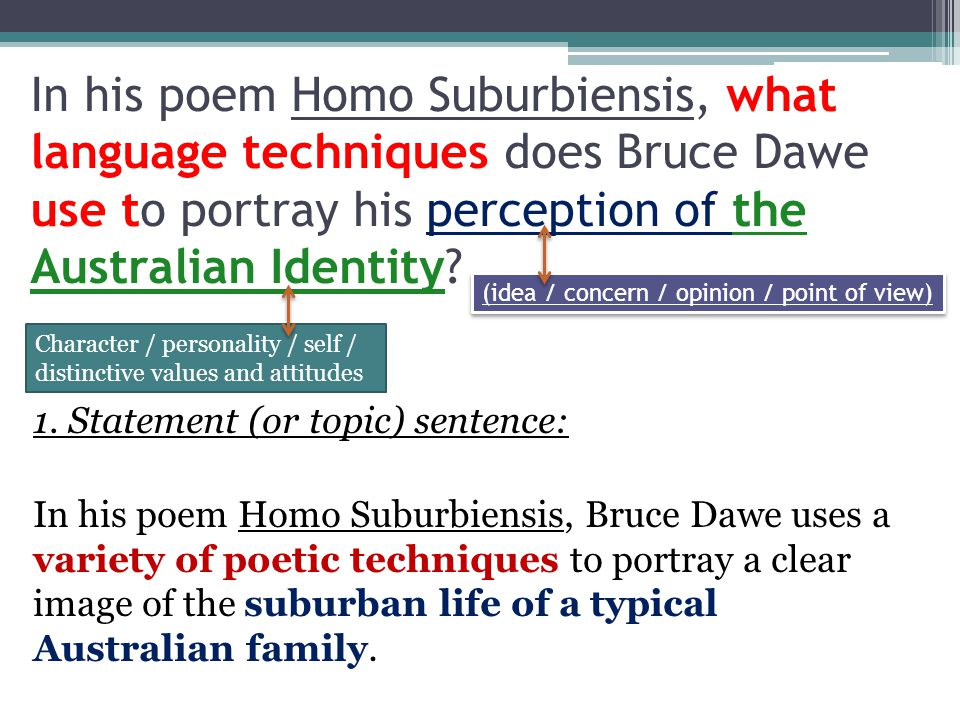 In his poem Homo Suburbiensis, what language techniques does Bruce Dawe use to portray his perception of the Australian Identity