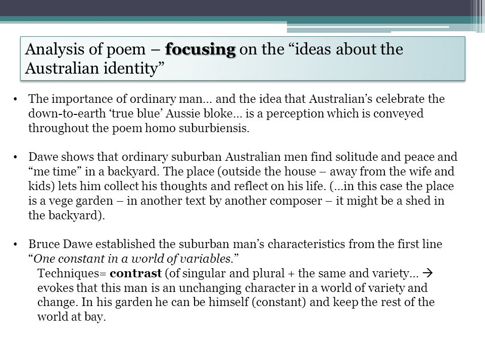 Analysis of poem – focusing on the ideas about the Australian identity