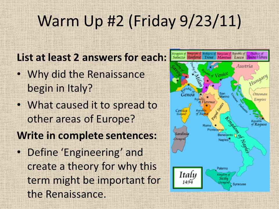 why did the renaissance start in italy
