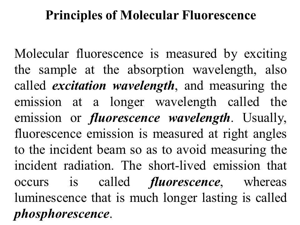 Principles of Molecular Fluorescence