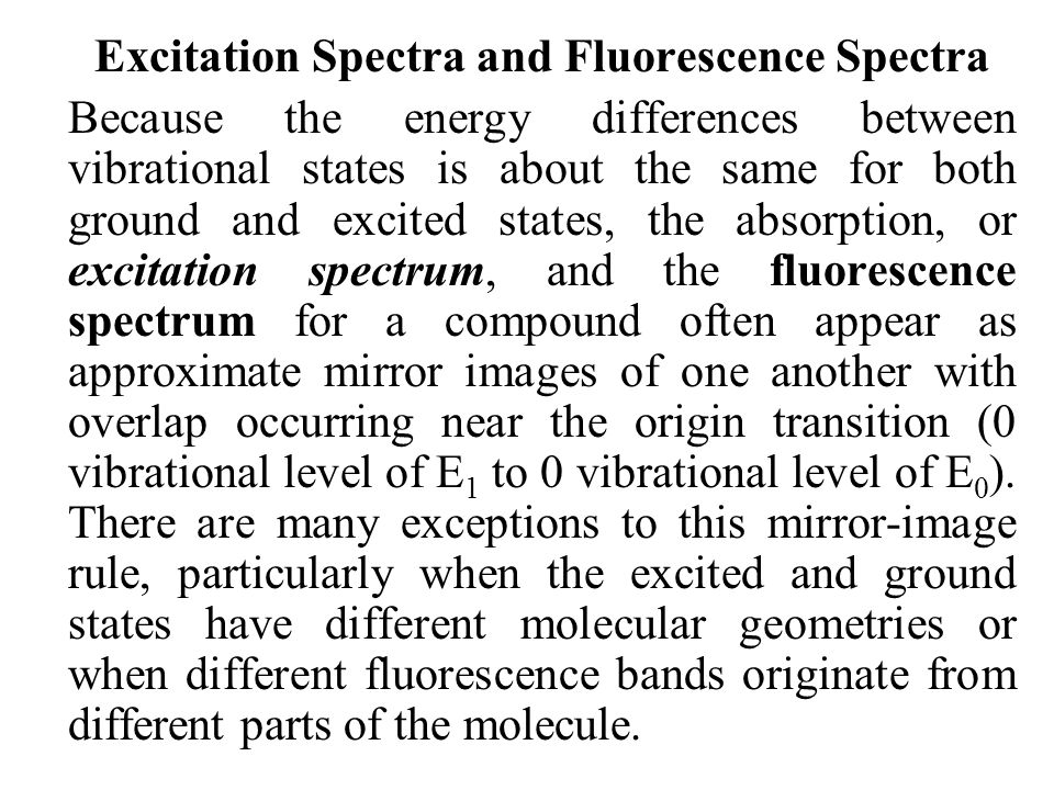 Excitation Spectra and Fluorescence Spectra