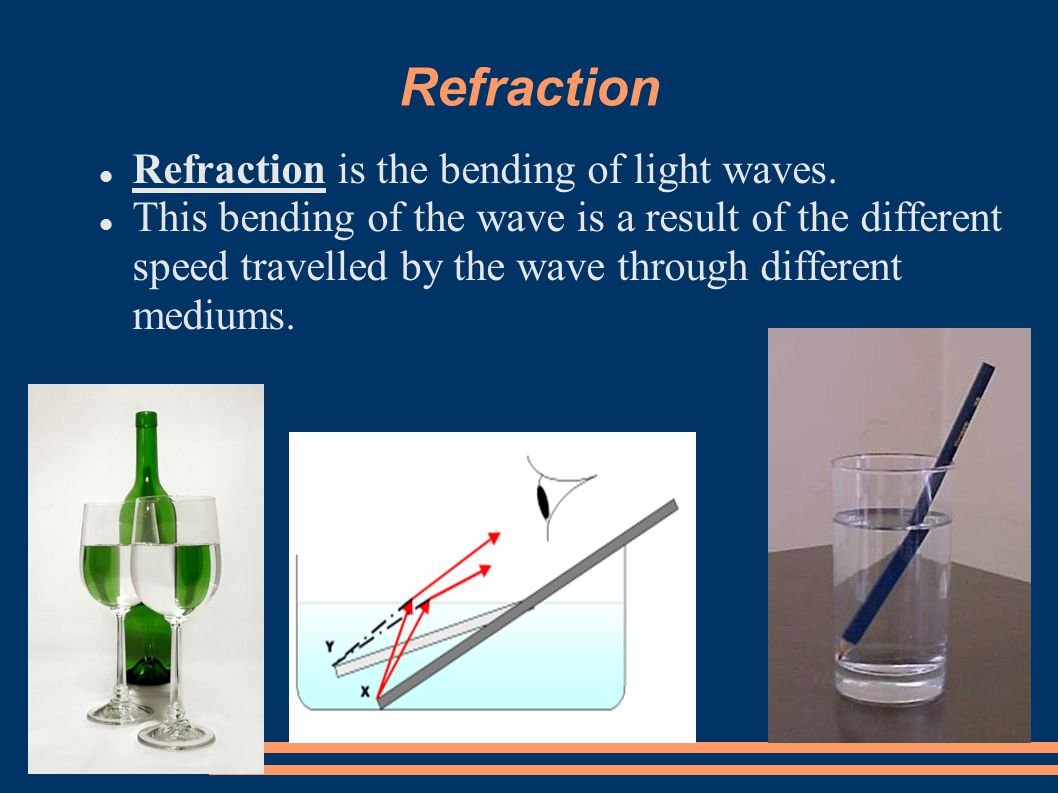 Refraction Refraction is the bending of light waves.