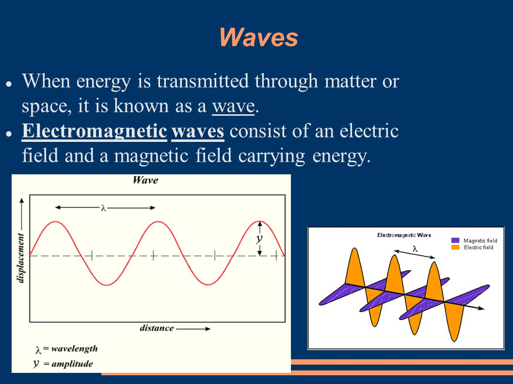 Waves When energy is transmitted through matter or space, it is known as a wave.