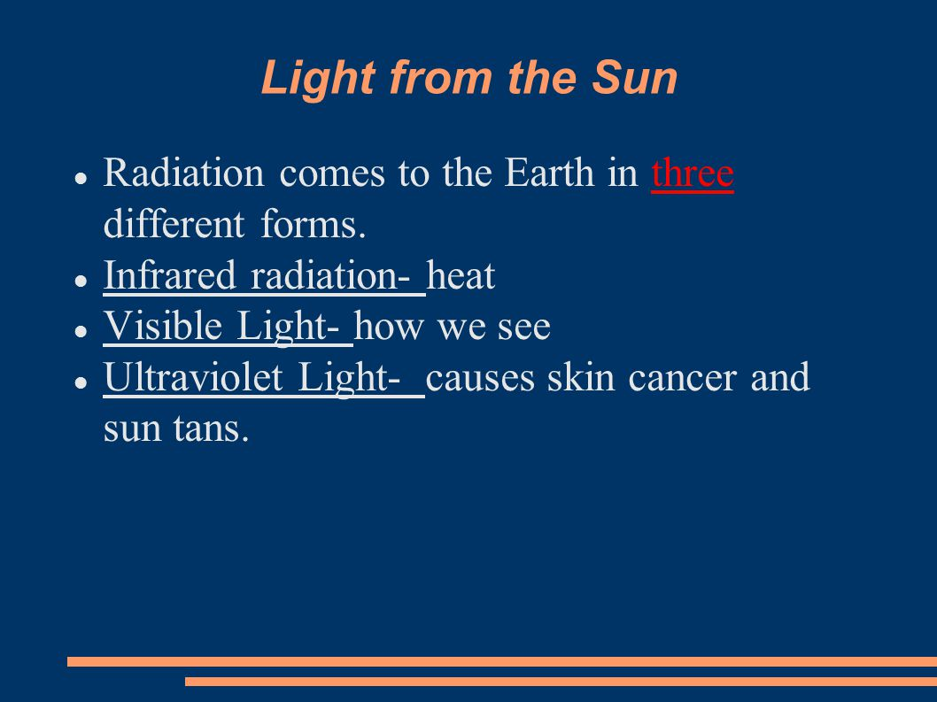 Light from the Sun Radiation comes to the Earth in three different forms. Infrared radiation- heat.