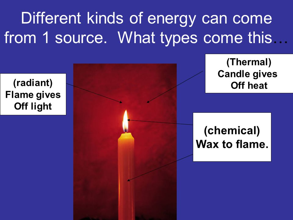 Different kinds of energy can come from 1 source. What types come this…