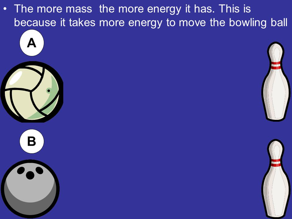The more mass the more energy it has