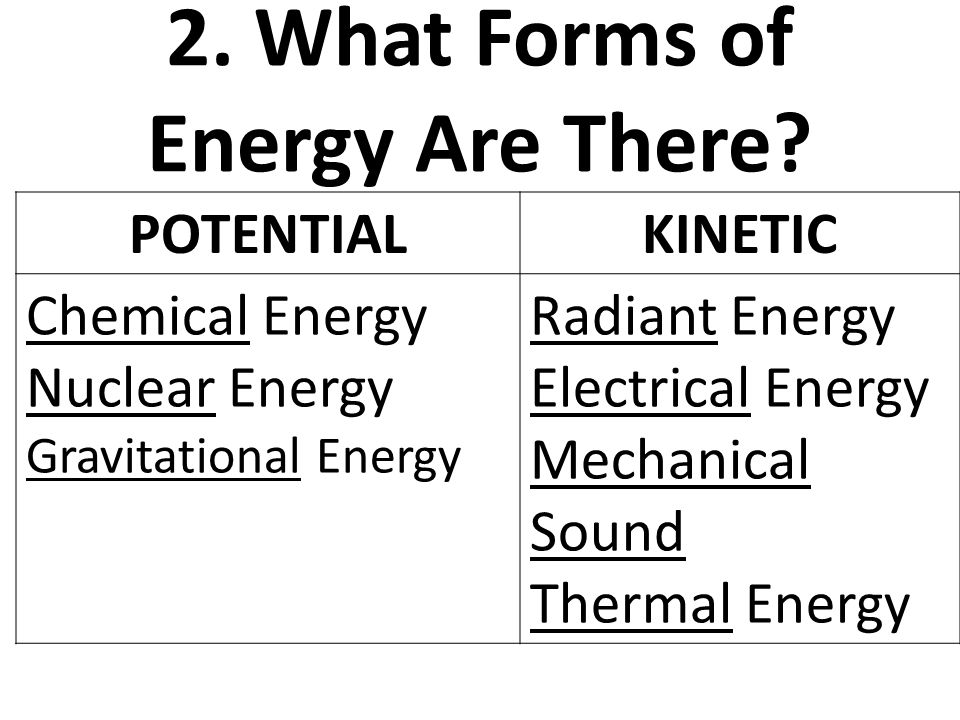 name two forms of energy
