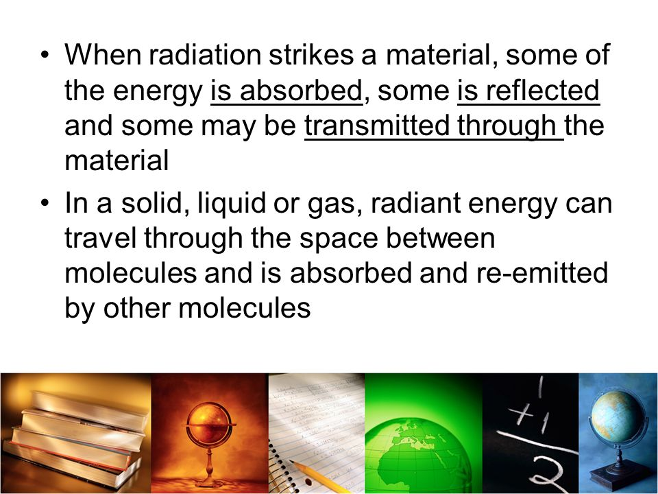 When radiation strikes a material, some of the energy is absorbed, some is reflected and some may be transmitted through the material